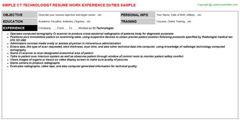 Ct Technologist Resume by Ct Technologist Resume Sle