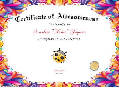 Certificate Of Awesomeness Template - Costumepartyrun