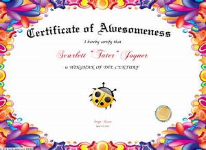 certificate of awesomeness With certificate of awesomeness template