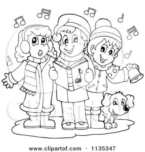 children singing clipart black and white of children singing carols royalty