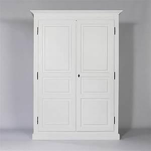 Armoire Blanche 2 Portes : armoire bois massif blanche 2 portes 1 penderie made in meubles ~ Teatrodelosmanantiales.com Idées de Décoration