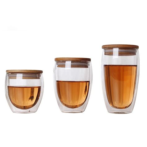 Not get fingers hurt by hot coffee. Double Wall Glass Tea Cup Coffee Mugs Transparent Insulation Glasses Cups With Bamboo Lid ...