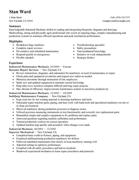 Mechanics Resume by Industrial Maintenance Mechanic Resume Exle
