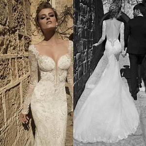 Vintage Sexy Backless Long Sleeve Mermaid Wedding Dress ...