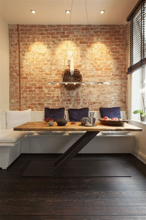 cozy renovated apartment  rustic brick walls