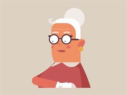 Grandma Dribbble Character Animation Cliparts Illustration Flat