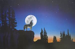 A Red Wolves Howling At Moon - WallsKid