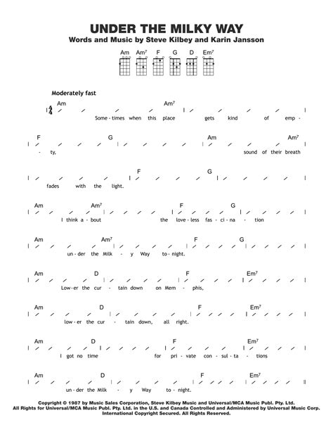 under the milky way sheet music direct