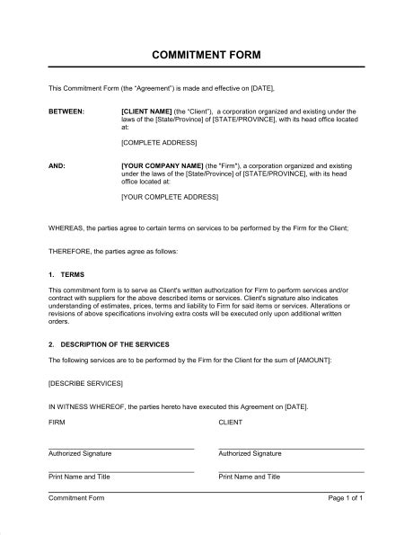 Commitment Form - Template & Sample Form | Biztree.com