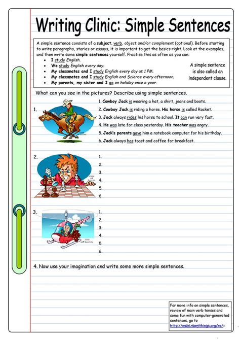 Writing Clinic Simple Sentences Worksheet  Free Esl Printable Worksheets Made By Teachers