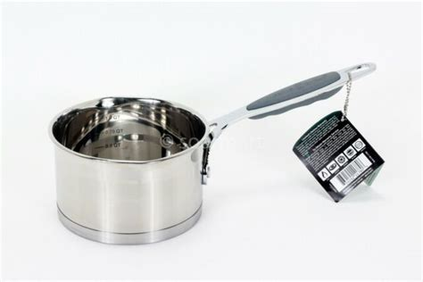 clad  qt  covered saucepan brushed stainless steel dishwasher safe ebay