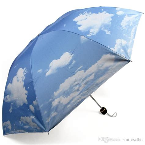 best quality sale anti uv sun protection umbrella blue sky 3 folding gift parasols