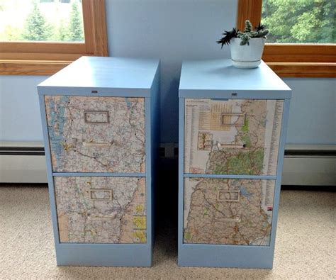 how to dress up a metal file cabinet decoupage maps on metal filing cabinet makeover