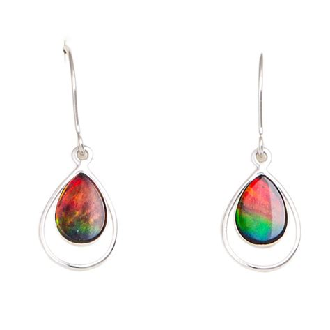 ammolite earrings  white gold