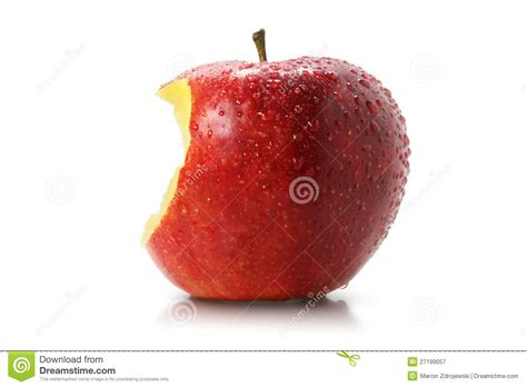 Juicy bite of a red apple stock image. Image of healthfull ...
