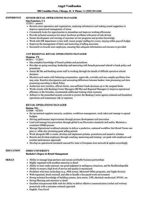 Retail Manager Resume Exles by Retail Operations Manager Resume Templates Business