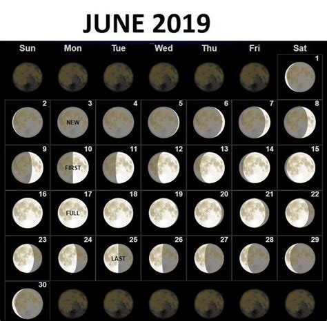 june  moon phases calendar june june