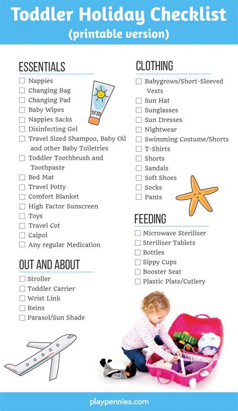 Toddler Holiday Checklist