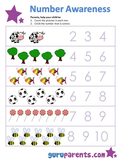 counting worksheets for preschool 1 10 worksheets for all