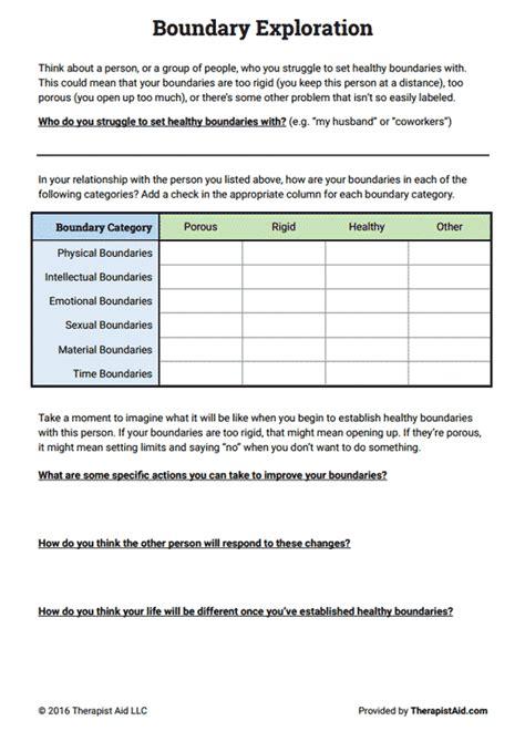 boundaries exploration worksheet therapy