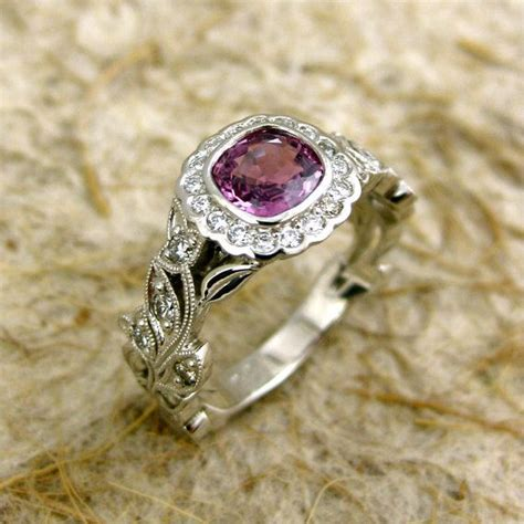 marsala sapphire engagement ring in platinum with diamonds and flowers leafs vine setting