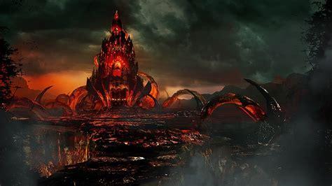 fantasy castle burning wallpaper   hd desktop