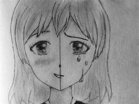 Nehmen sie ein buch zur hand und legen sie es vorsichtig auf. Anime Girl drawing smiling/crying | Anime mädchen ...