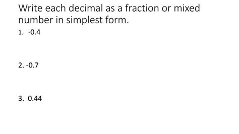 write each percent as a fraction in simplest form ppt 2 1 terminating and repeating decimals powerpoint presentation id 2495748