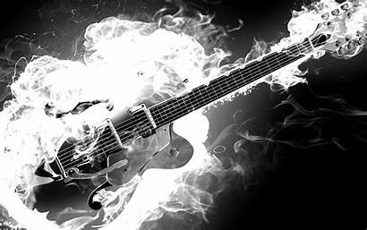 Guitar Electric Fire Guitars Flames Monochrome Bass
