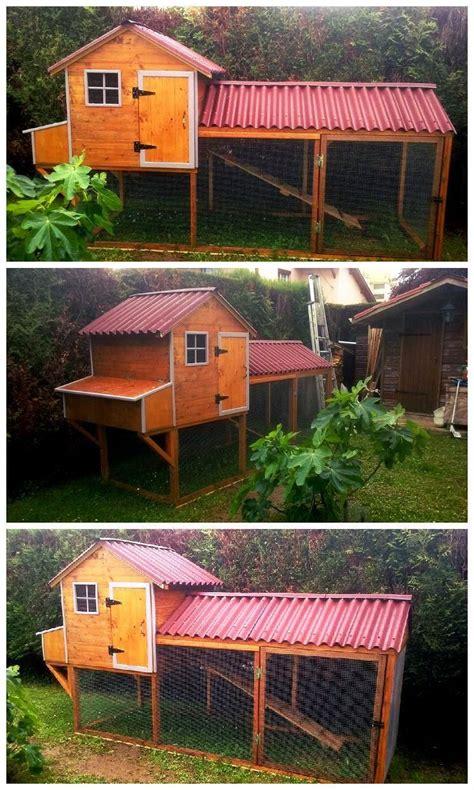 diy chicken coop  pallets kippen hokken achtertuin