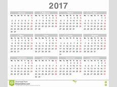 Calendario Anual Lunes De 2017 Años Primero, Inglés