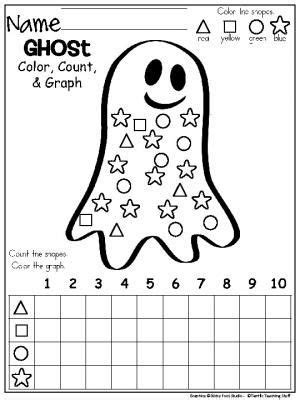 October Ghost Shapes Graph Freebie For Halloween And Fall Color, Count, And Graph The Shapes