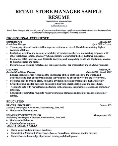 Retail Manager Resume Exles by Retail Manager Resume Is Made For Those Professional