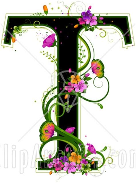 black capital letter  outlined  green  colorful flowers  butterflies clip art
