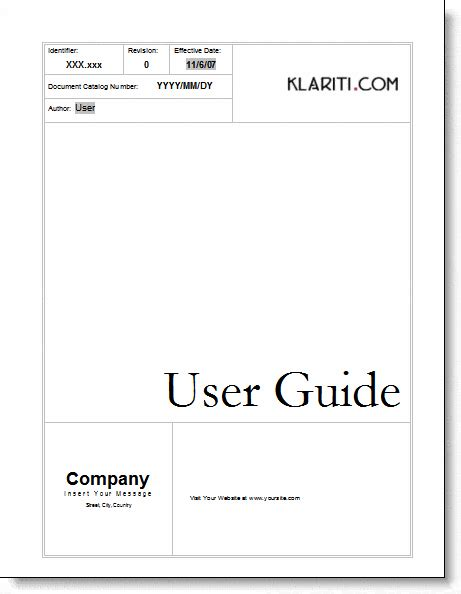 user manual templates word excel  formats