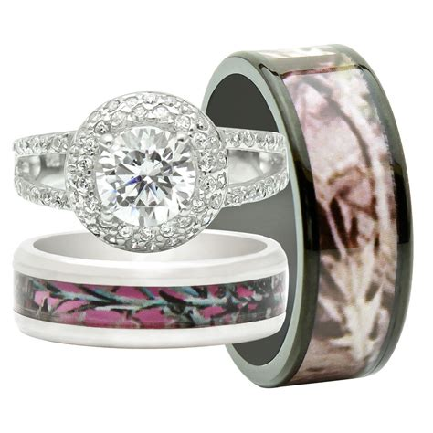 his and hers 3pcs titanium camo 925 sterling silver engagement wedding rings ebay