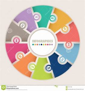 Infographics With Ten Options Circular Puzzle Stock Vector