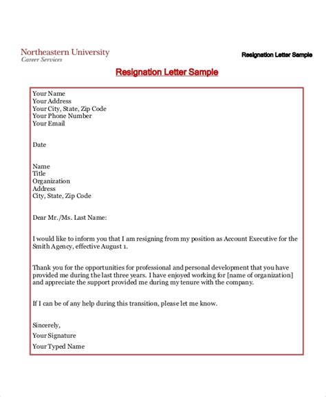 standard resignation letter  examples   word