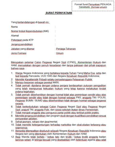 Surat Lamaran Kerja Untuk Cpns Kemdikbud by Format Terbaru Contoh Surat Lamaran Pernyataan Cpns