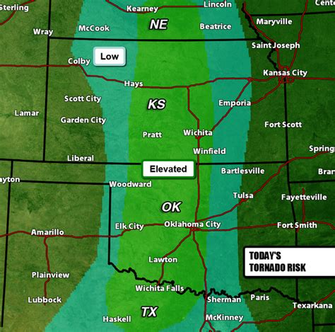 map   tornado threat today   middle part