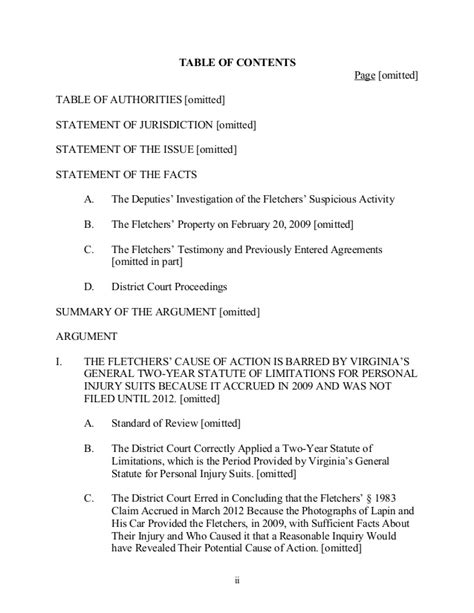appellate brief table of authorities exle sle appellate brief curtilage nature of uses