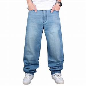 HIP HOP Loose Baggy Denim Jeans SkateBoarding Mens Street ...