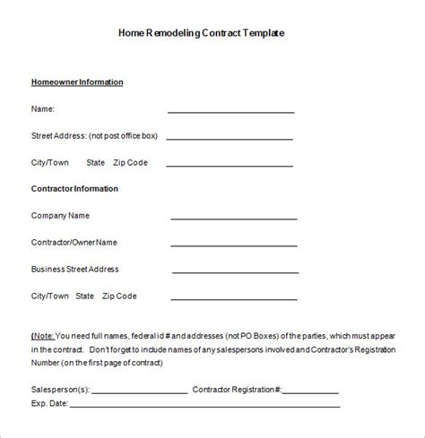home remodeling contract templates word docs pages