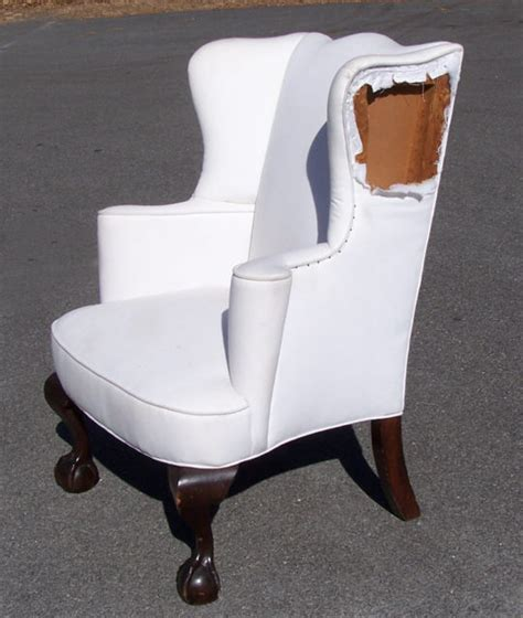bench made chippendale and claw foot wing chair by