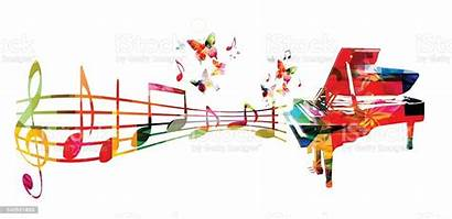 Piano Notes Colorful Background Butterfly Choir Illustration