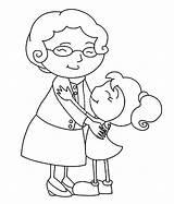 Coloring Grandmother Hug Grandchild Grandma Granddaughter Hugs Printable Colorluna Vovo Netinha sketch template