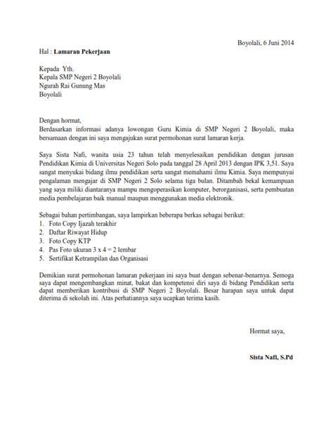 Surat Sakit Untuk Guru by Contoh Surat Lamaran Kerja Guru Kimia Ben