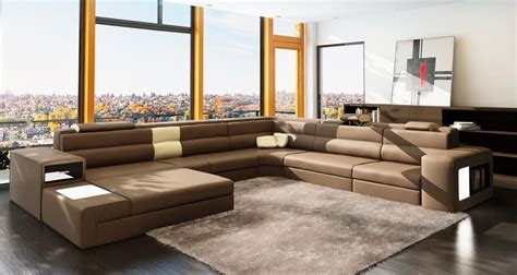 Bedrooms Polaris by Vig Furniture Polaris Italian Leather Sectional Sofa In Brown