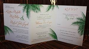 orange and green palm leaves trifold wedding invitations With tri fold beach wedding invitations
