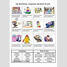 Job Descriptions, Occupations And Places Of Work  English Worksheets  Pinterest Foreign